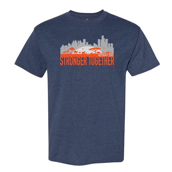 ADULT DETROIT ZOO STRONGER TOGETHER NAVY TEE