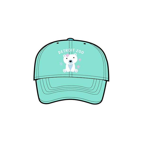 YOUTH BASEBALL HAT POLAR BEAR SWEETEST SEAFOAM