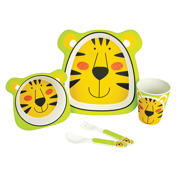 5 PIECE TIGER BAMBOO DINNER SET