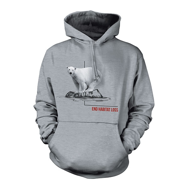 ADULT HOODED SWEATSHIRT POLAR BEAR HABITAT ASH