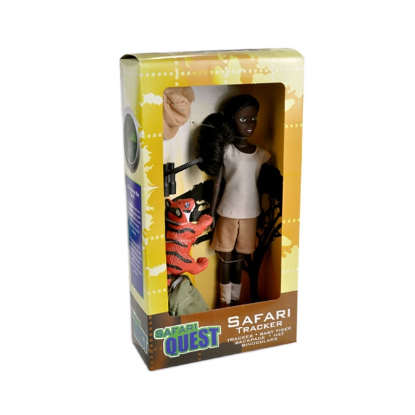 AFRICAN AMERICAN SAFARI DOLL WITH TIGER