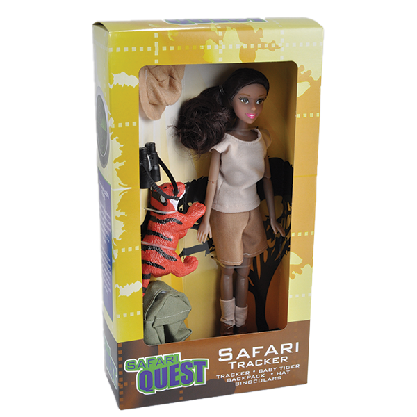 HISPANIC SAFARI DOLL WITH TIGER