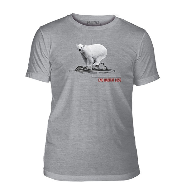 ADULT SHORT SLEEVE POLAR BEAR HABITAT ASH