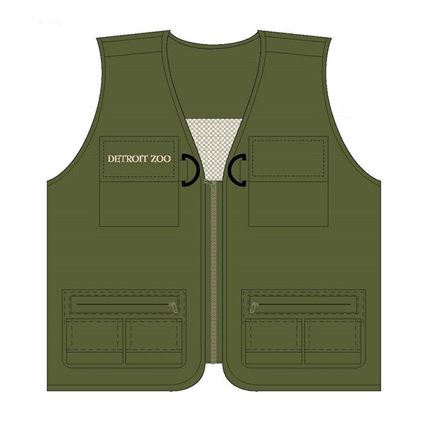 YOUTH VEST DETROIT ZOO ZOOKEEPER OLIVE
