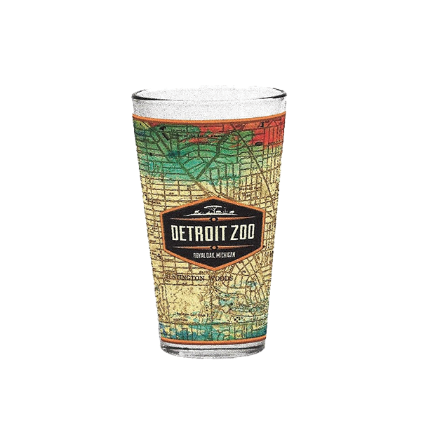 DETROIT ZOO  MAP PINT GLASS