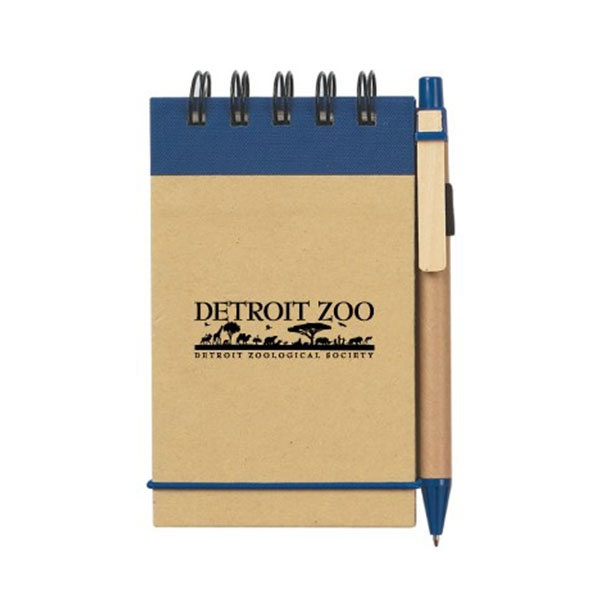 JOTTER AND PEN WITH DETROIT ZOO LOGO BLUE
