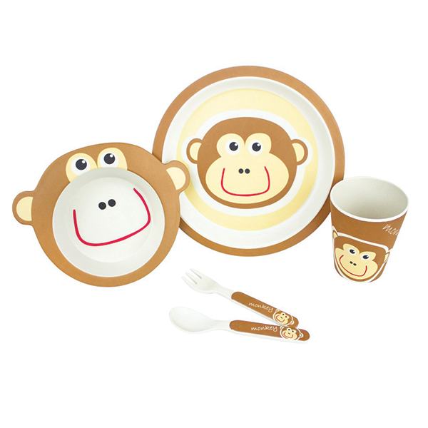 5 PIECE MONKEY BAMBOO DINNER SET