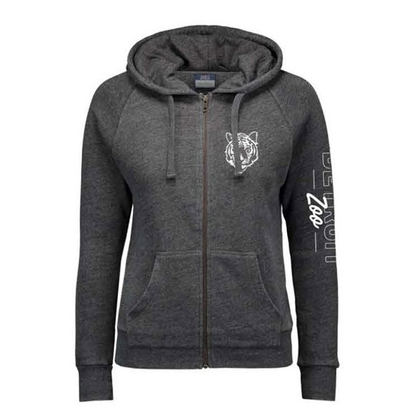 LADIES HOODED SWEATSHIRT TIGER CHARCOAL