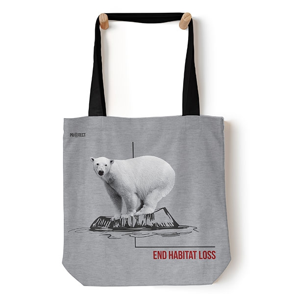 TOTE CANVAS POLAR BEAR HABITAT ASH